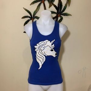 Va Va by Joy Han blue sequin unicorn tank top
